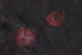 IC 1396, Sh2-129 and OU4 in Cepheus