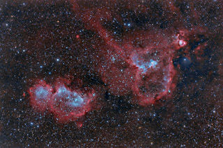 The Heart and Soul Nebulae in HaOIIIRGB