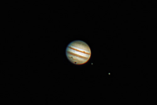 Jupiter with Shadows of Europa and Ganymede 1/3/12 at 23:00 PST