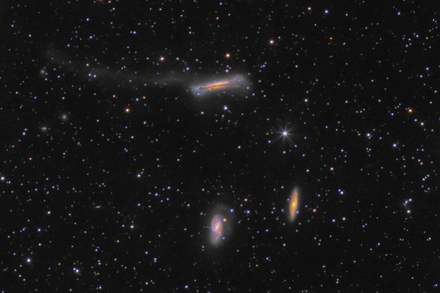 Cropped Version of  Leo Triplet - M65, M66,  NGC 3628 and its Tidal Tail