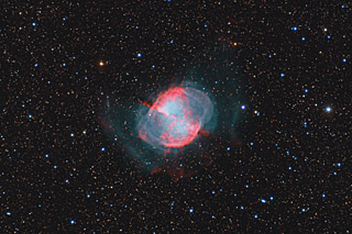 M27 - the Dumbbell Nebula in HaOiiiLRGB