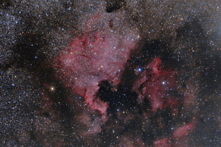 The North American and Pelican Nebulae in RGB (Color)