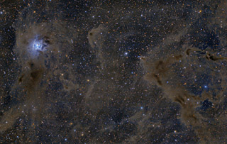 The Iris Nebula, LBN 468, and HH 215 in Cepheus
